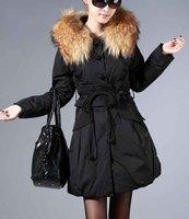 women's Down Coats black/beige Hooded Fox Fur Collar Size S M L XL Long style Down jacket lastest winter coat thick coat