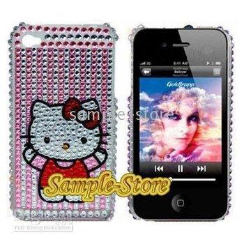 10pcs Crystal Diamond bling Rhinestone Hard Case Cover hello kitty cute skin for apple iphone 4 4s 4G