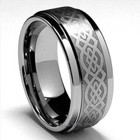 Guaranteed 100% Mens Tungsten Carbide Wedding Band Ring Gift Jewelry 9MM Size 8-14