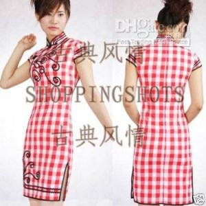 chinese gown dress qipao cheongsam wedding red lady(China (Mainland))