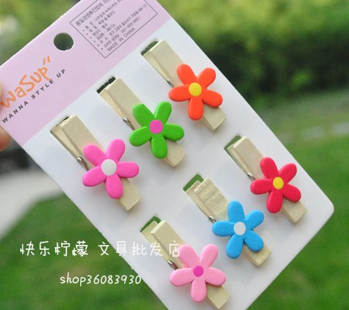 Free Shipping/cute Wooden Cartoon small flower clip/Paper Clip/ Office & School /Fashion Korean Style/creative Gift/Wholesale(China (Mainland))