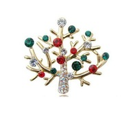 Free shipping new arrival alloy crystal christmas tree brooch pin/christmas gift
