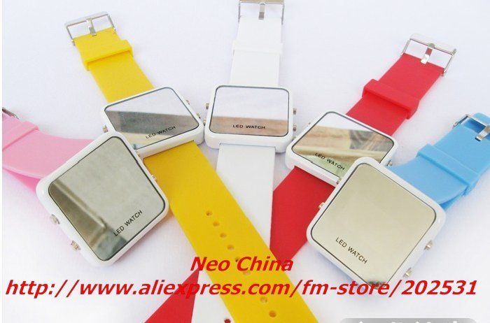 Best selling ultrathin mini Led mirror watch,Led mirror watch,couples wrist watch,20 pieces/lot,Free shipping(China (Mainland))