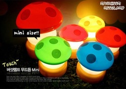 wholesale Novelty Items Free shipping Colorful led Mushroom lamp mini lamp light seven color chaning(China (Mainland))