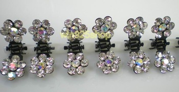 Free Shipping,wholesale crystal clear flower hair claw clips,hair jewelry