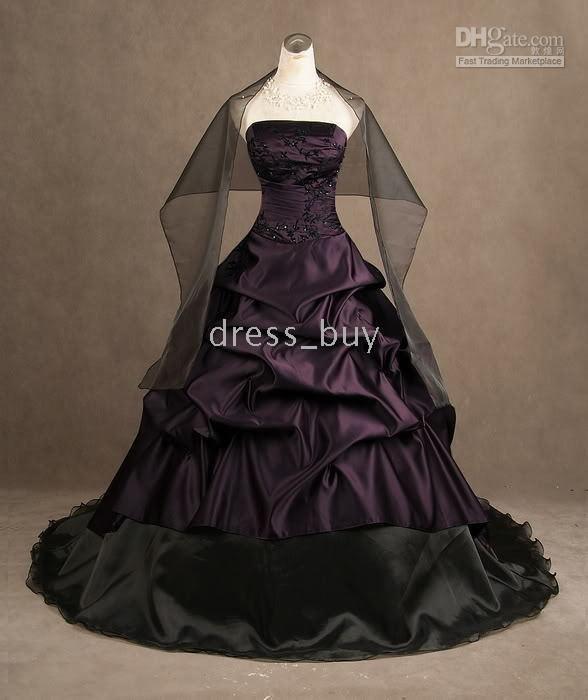 Deep Purple Wedding Dresses : Deep purple black detail strapless wedding dresses bridal gowns