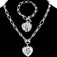 heart Jewelry, (Necklace + Earrings), fashion jewlery set, silver set wholesale S064 5pc/lot with free shipping