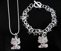 Hello kitty Jewelry Set (Hello kitty Necklace + Hello kitty Bracelet ), fashion jewelry, pendant, wholesale,MIC T107 5pc/lot