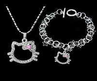 Hello kitty Jewelry Set (Hello kitty Necklace + Hello kitty Bracelet), fine jewelry, wholesale,T178 5pc/lot with free shipping
