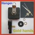 Free shipping 10pcs/lot Quartz Clock Movement Kit Spindle Mechanism GOLD HANG WITH HANGER HOOK shaft 23mm