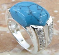 Free ship fee 925 sterling silver Zircon turquoise finger ring US standards size 6  UK M R344