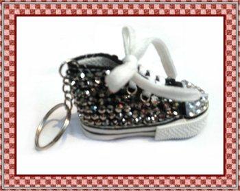 Fast Free shipping ,new arrival hot selling fashion shoe keychain with hematite rhinestone ,3.5cm*7.5cm*4.0cm 10pcs/lot