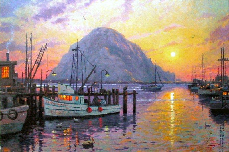 Thomas Kinkade Oil pinta Morro Bay at Sunset(China (Mainland))