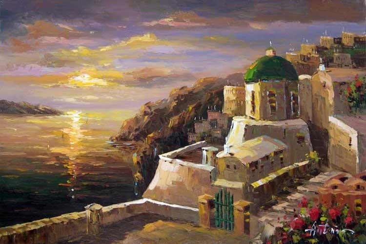 Ilha grega Igrejas do sol Seascape Grande pintura a óleo(China (Mainland))
