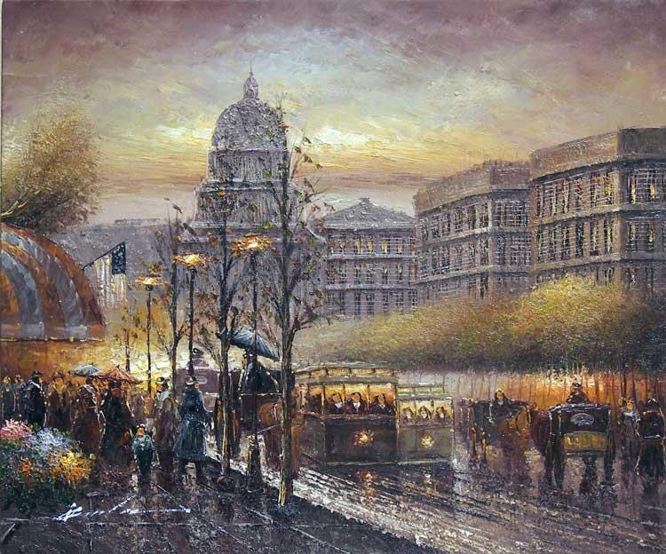 Pintura a óleo da cena da rua de Washington DC por do sol 1900(China (Mainland))
