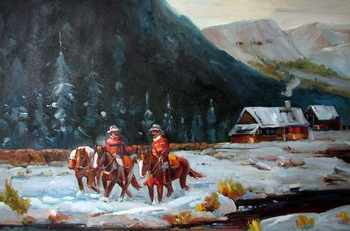 Cowboy Horse Mountain Men Snow Landscape Oil Painting