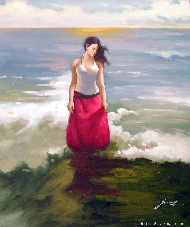 Ondas Mulher triguenha em Surf Oceano Pintura a Óleo Vermelho(China (Mainland))