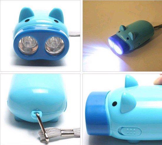 Novelty products Mini Pig 2 LEDs Flashlight LED Keychain CN post(China (Mainland))