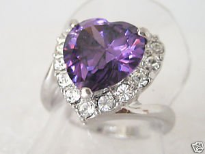 Elegant Amethyst white gold Lady's Ring size 7.8,9 Free Shipping(China (Mainland))
