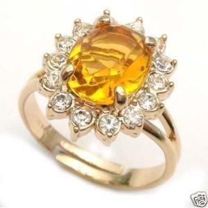 . beautiful encanto amarelo embutimento de zircão crystal ring frete grátis(China (Mainland))