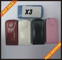 Free shipping --New high quality more colours leather case mobile phone cellphone for black NOKIA X3 with vision package
