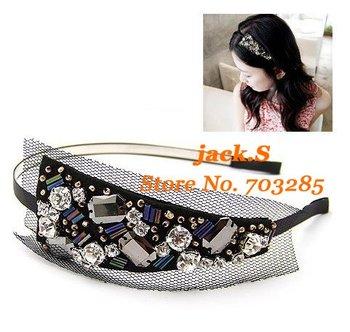 Free shipping! Romantic hairband with black net and diamond 2011 new hot sell headwear 12pcs/lot
