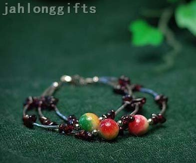 New Arrival Unique Women&#39;s Jewelry Color Precioius Stone + Garnet Bead Bracelet Bangle 40pcs Mixed Lot Free Shipping(China (Mainland))