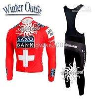 Free Shipping!! WINTER THERMAL FLEECE CYCLING LONG JERSEY/GILET+BIB PANTS 2010 SAXO BANK