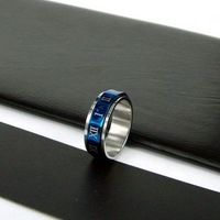 5pcs best selling New Arrival 7mm Stainless Steel Plating Rotation Gift Ring by EMS shipping