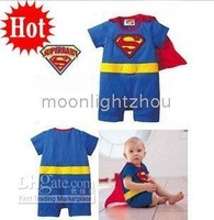 Baby One-Piece Rompers romper boys superman Batman blue gray  4 pcs/lot