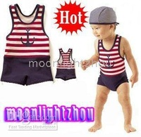 one-piece suits 25sets/lot Kids' boys' baby Swimwear boy swimsuit Swim hat cap stripe Girls' girl