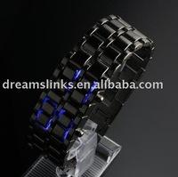 Lava Style Iron Samurai Metal LED Faceless Luxury Men's Digital Watch Blue light black male watch