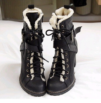 Women's Black Stylish Faux Fur Lining Military Boots Flat Heel Half Boots