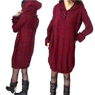 2011 new style high round collar sweater dress with hood(China (Mainland))