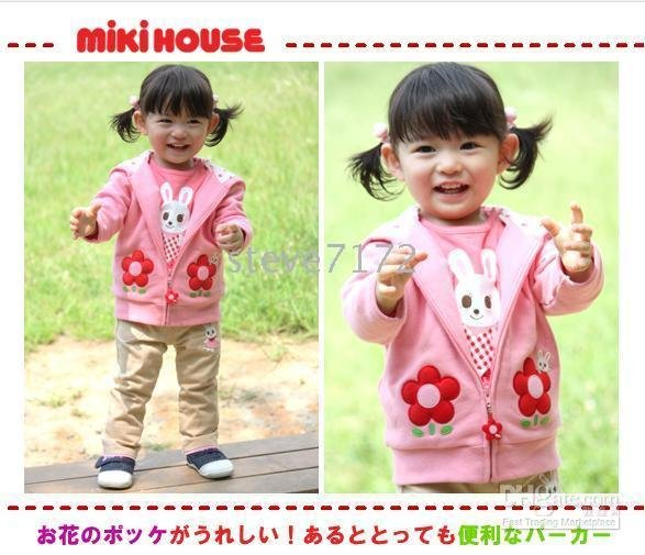 Mikihouse hoodies girls&#39; coats jackets outerwear hoodies caps surcoats wrap tops Sweatshirts TZ463(China (Mainland))