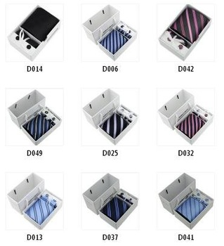 Wholesale Man's 100% Mulberry Silk Formal Necktie / Fashing Real Silk Tie Set With Gift Box 5pcs Free shipping (ST-03)