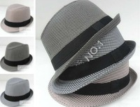 British style fedora hat Jazz grid hats Performing caps stingy brim hats cotton mix 3 colors 24pcs