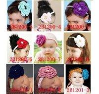 Wholesale-infant headbands baby girl crocheted headband hair holder 100pcs mix colour hair bow