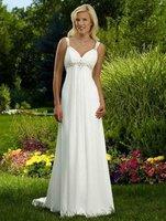 2011 V Neck Long Beach wedding dress Custom-made all size:2.4.6.10-28