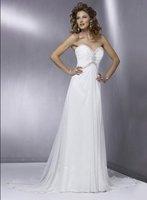 2011 One shoulder Handmade Flower Long Beach wedding dress Custom-made all size:2.4.6.10-28