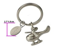 Free Shiping Best Sell High Quality Transportation Helicopter keychains with Oval Charm