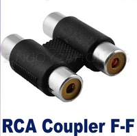 Female to Female 2 RCA AV Cable Joiner Coupler Component Adapter Free Shipping