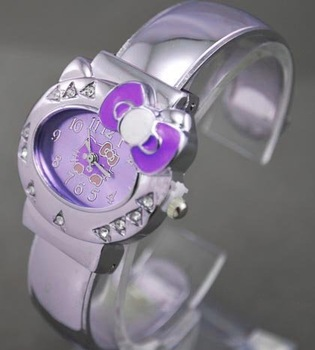 Free ship fee Purple bowknot Cat Cute kitty bangle jewelry Wrist Watch K148