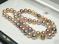 .Beautiful Multicolor Fresh Water Pearl Necklace  Free Shipping