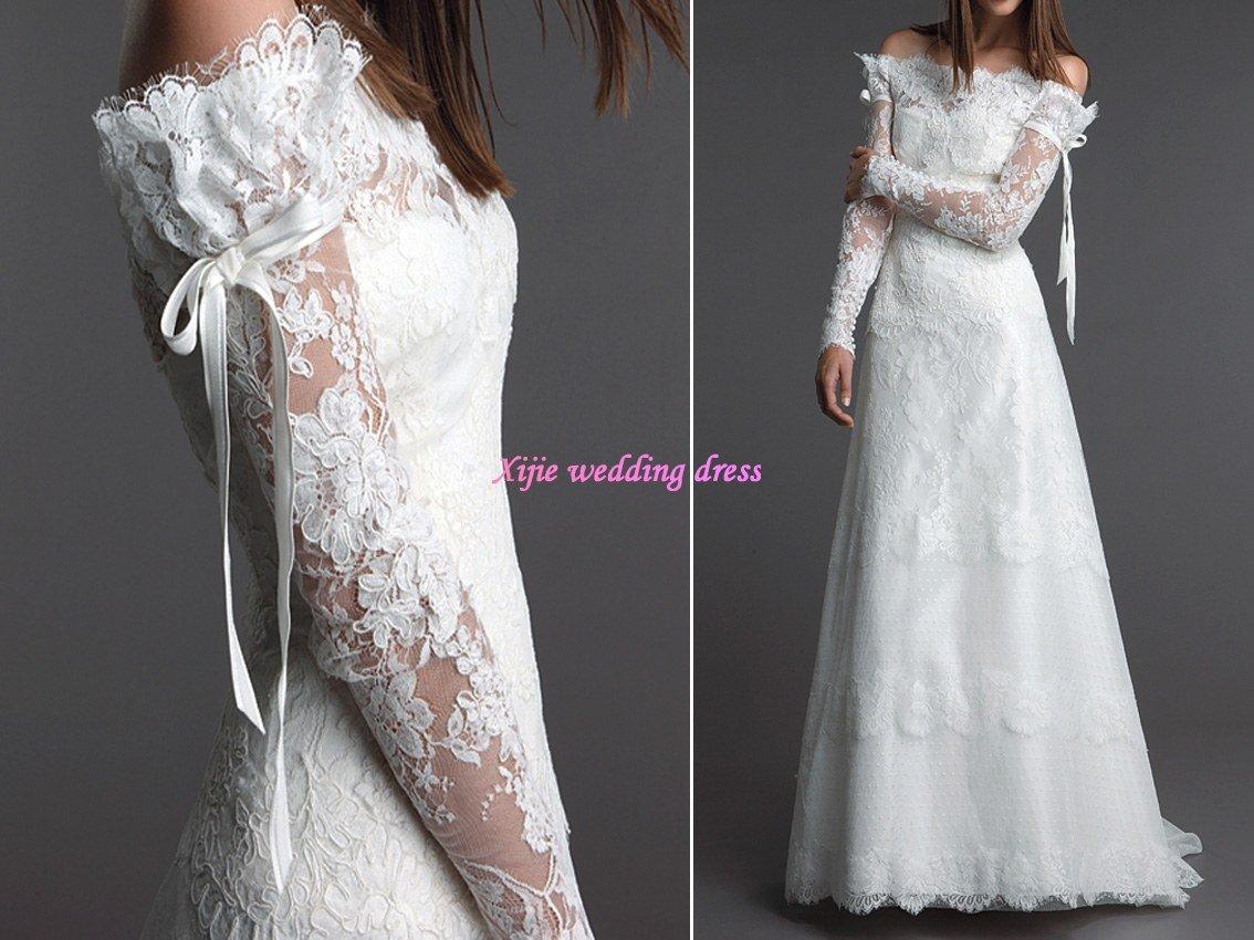 off the shoulder lace sleeve wedding dress MEMEs