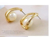 Free shipping Ladies&amp;#39; fashion delicate earrings, Beautiful beautiful alloy pearl earrings, (10 pairs/ lot)