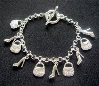 Wholesale fashion 925 silver beautiful five bag five shoe charm bracelet +box Super price !Free Shipping with brand LB13(China (Mainland))
