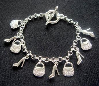 Wholesale fashion 925 silver beautiful five bag five shoe charm bracelet Super price !Free Shipping LB13