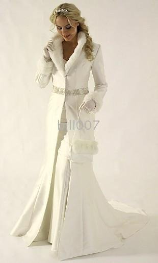 Free shipping Best Selling New Arrival Winter Wedding Dresses / Dress Satin Coat Ivory White(China (Mainland))