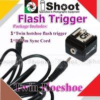 Twin Hotshoe Flash Trigger & cord case for Nikon D1 D2X D3X case for Canon 7D 5D Mark II 50D
